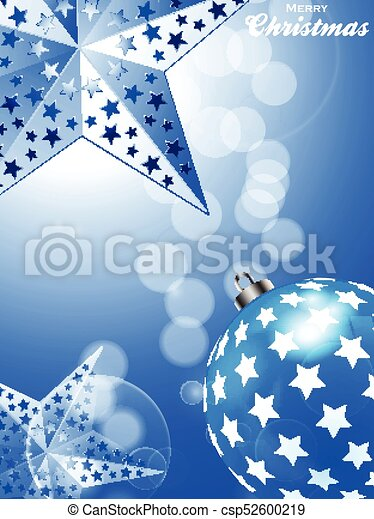 blue christmas background with stars and bauble csp52600219 - Blue Christmas Background