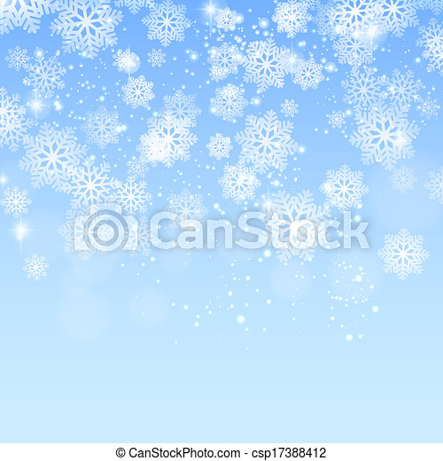 Blue christmas background with snowflakes vector - csp17388412