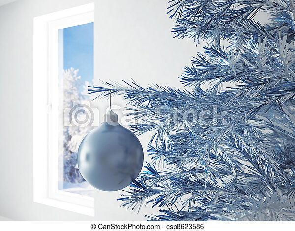blue christmas ball in an environment of ribbons on a window background - csp8623586