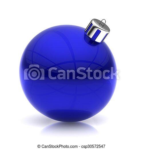 Blue Christmas ball on white - csp30572547