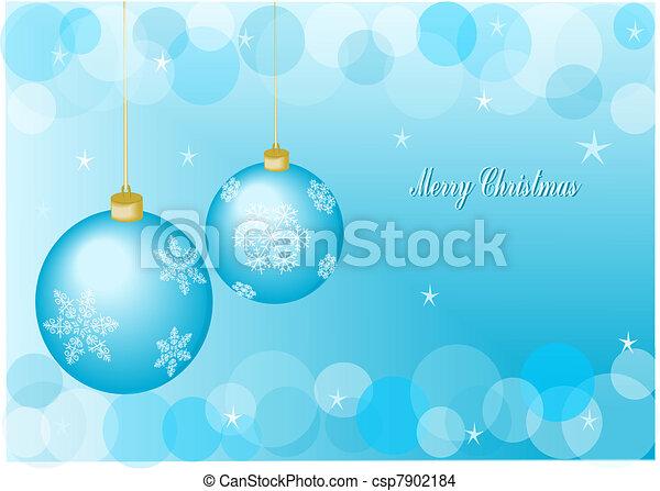 Blue christmas balls - csp7902184