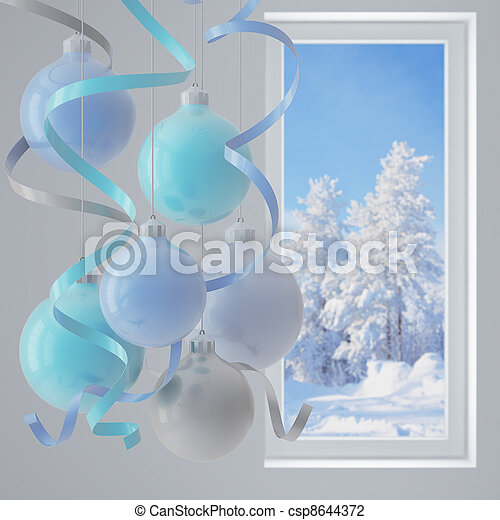 blue christmas balls in an environment of ribbons on a window background - csp8644372