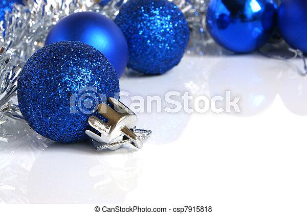 Blue christmas balls - csp7915818