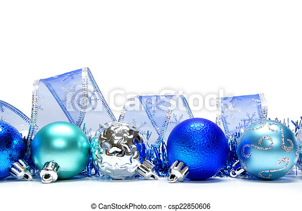 Blue Christmas Bauble Border