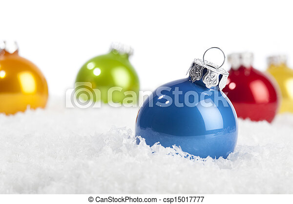 Blue Christmas bauble in decorative snow - csp15017777