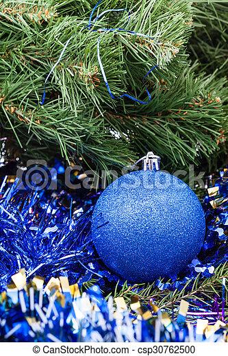 blue Christmas bauble, tinsel, Xmas tree 6 - csp30762500