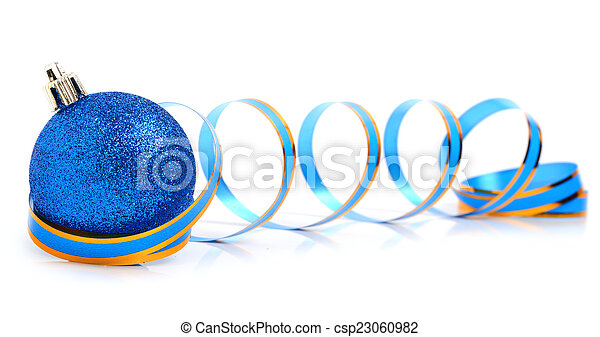 Blue christmas bauble with a ribbon - csp23060982