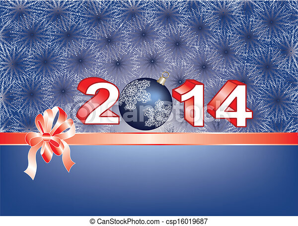 Blue Christmas card with ribbon over 2014 - csp16019687