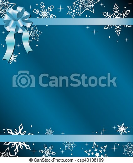 blue christmas card with ribbon - csp40108109