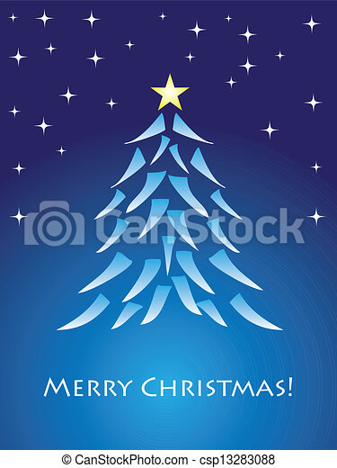 Blue christmas card with tree - csp13283088