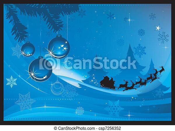 Blue Christmas greeting card - csp7256352