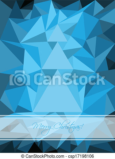 Blue christmas greeting with abstract tree - csp17198106