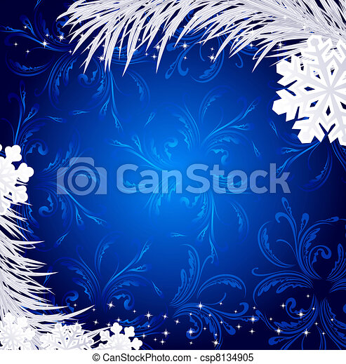 Christmas Holiday Background.Blue Christmas Holiday Background With Snowflakes And Silver Fir Twig