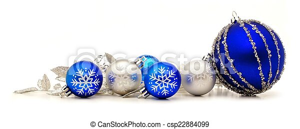 blue christmas ornament border csp22884099 - Blue And Silver Christmas Ornaments
