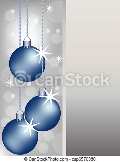 Blue Christmas Ornaments On A Silver Background