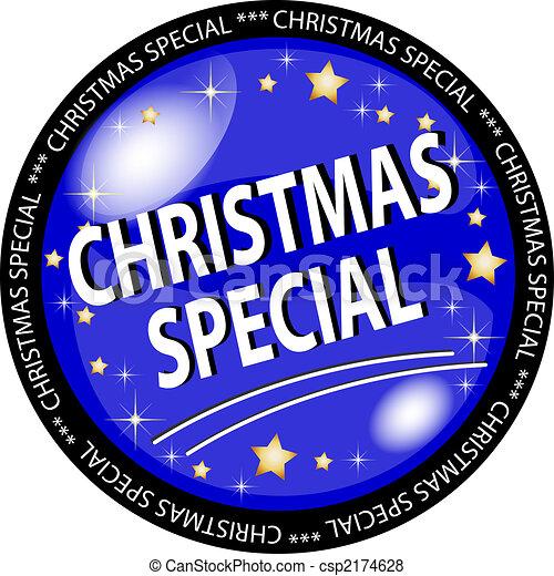 blue christmas special button - csp2174628
