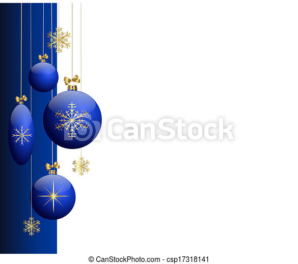 Blue christmas tree balls - csp17318141