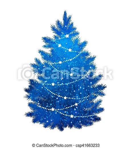 Christmas Tree White Background.Blue Christmas Tree On White Background