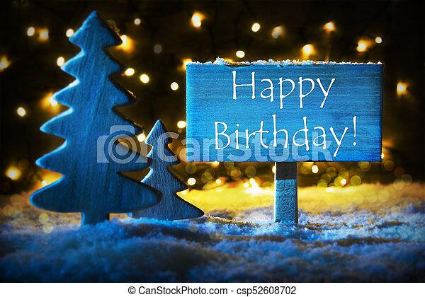 Blue Christmas Tree Text Happy Birthday