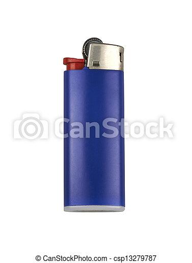 Blue cigarette lighter. Isolated on white. - csp13279787