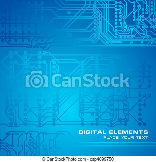 Blue circuit board background - csp4099750