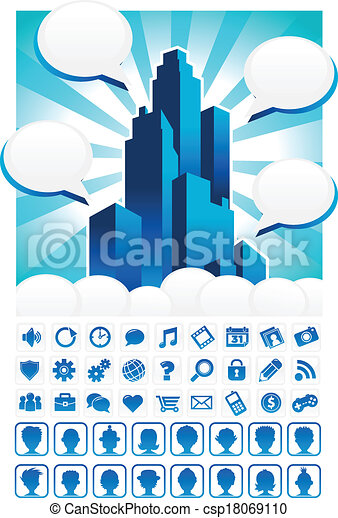 Blue City and Icons - csp18069110