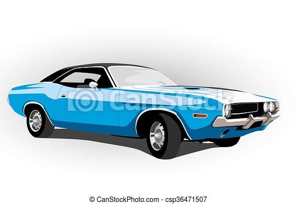 blue classic hot car - csp36471507