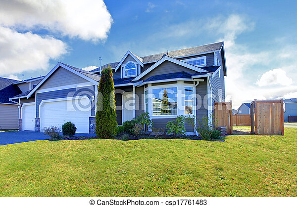 Blue Classic House With Tile Roof And Small Garden Canstock