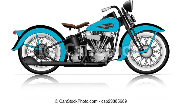 blue motorcycle clipart  Blue classic motorcycle.