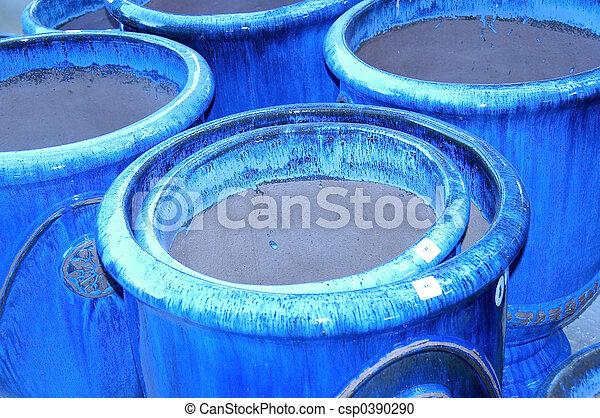 Blue Clay Pots - csp0390290