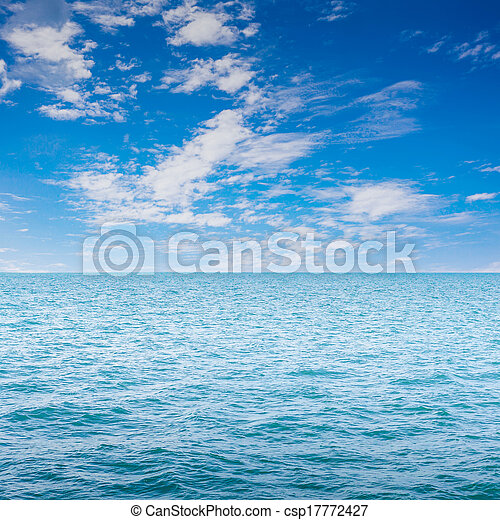 Blue clear sea with waves and sky - csp17772427