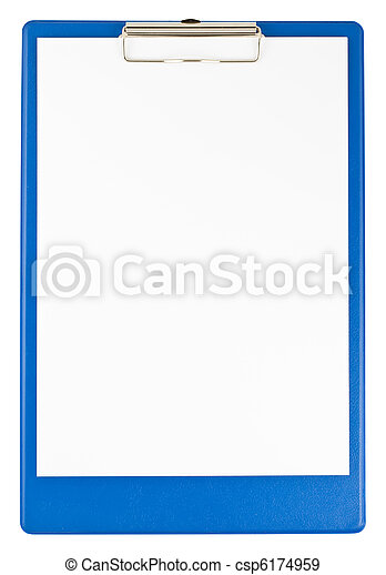 Blue clipboard and paper - csp6174959