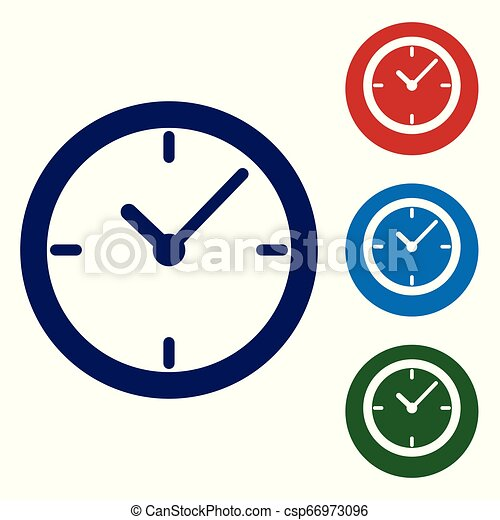 Blue Clock icon isolated on white background  Vector Illustration