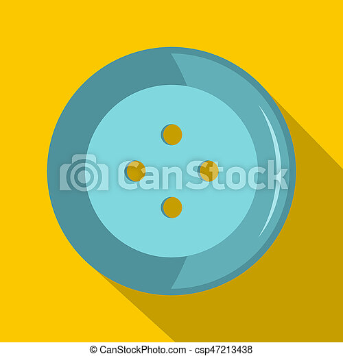 Blue clothing button icon, flat style - csp47213438