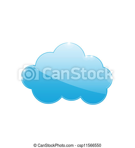 Blue cloud isolated on white background - csp11566550