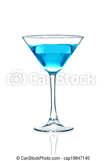 Blue cocktail glass on a white back - csp19847145