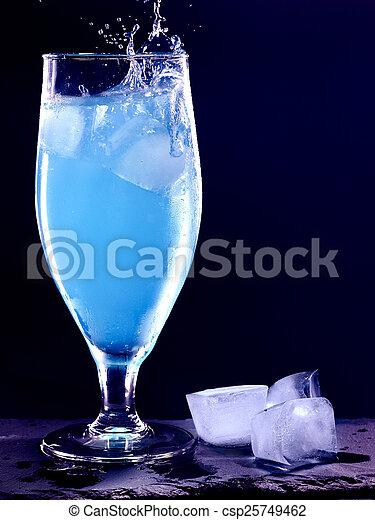 blue cocktail on black background 2 blue drink with splash on black