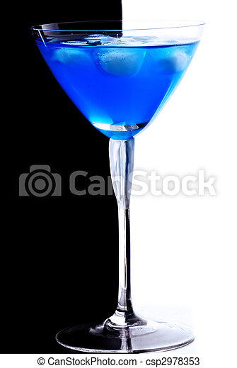 Blue cocktail with ice cubes - csp2978353