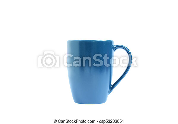 Blue coffee cup on white backgrounds include clipping path - csp53203851