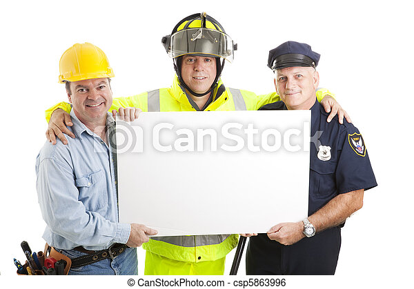 Blue Collar Guys with Sign - csp5863996