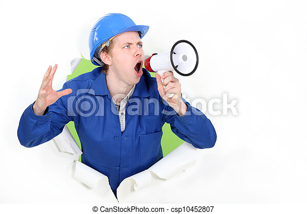 blue collar shouting in loudspeaker - csp10452807