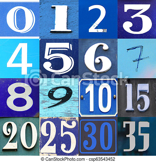 Blue collection numbers on different background - csp63543452