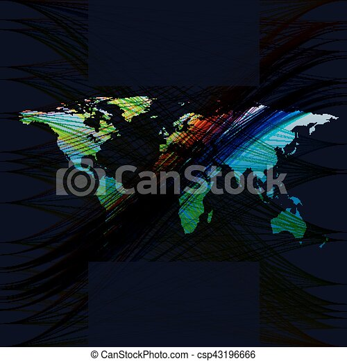 Blue color background with world map abstract waves lines curves blue color background with world map abstract waves lines curves swirl motion design vector gumiabroncs Choice Image