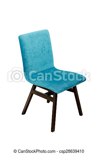 Blue color chair isolated on white - csp28639410