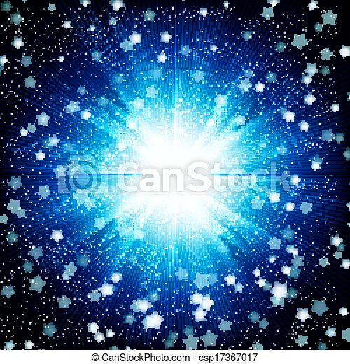 Blue color design background with a shining burst. - csp17367017