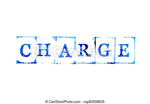 Blue color ink of rubber stamp in word charge on white paper background - csp83508635