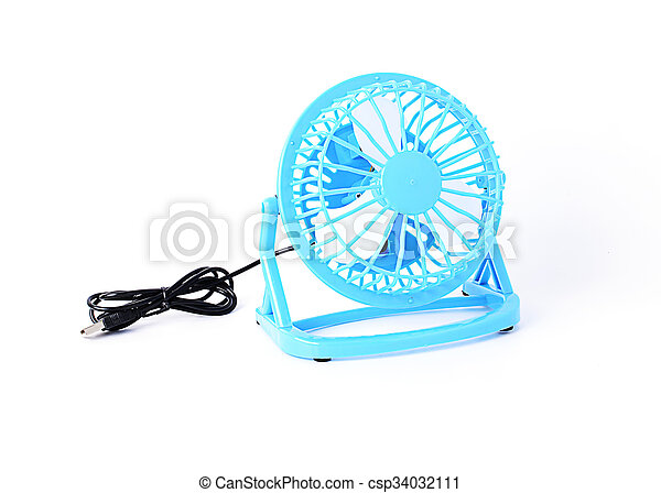 Blue color Mini fan Isolated on white backgrounds - csp34032111