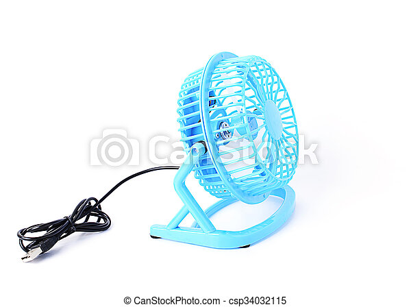 Blue color Mini fan with side views Isolated on white backgrounds - csp34032115