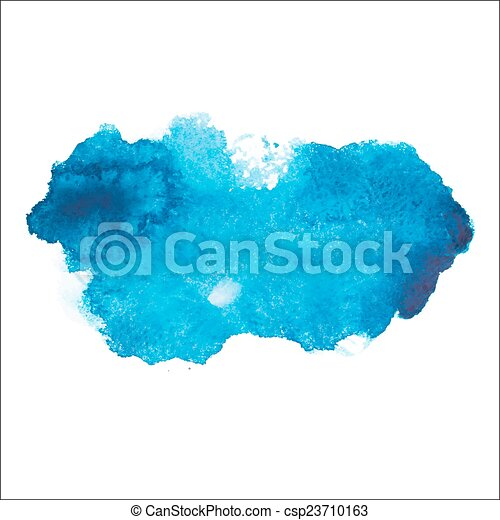 Blue colorful abstract hand draw watercolour aquarelle art paint splatter stain on white background Vector illustration - csp23710163