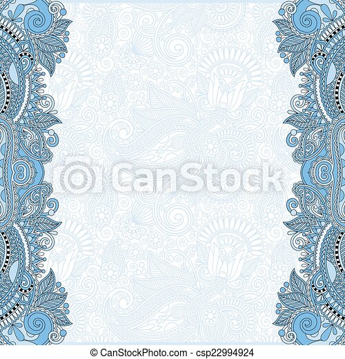 blue colour unusual floral ornamental template - csp22994924